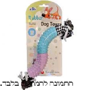 צעצוע כלב חבל קשר  + ציפוי גומי אפאן