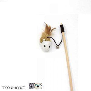 משחק צעצוע חתול עם עכבר ופעמון מחובלל מעץ